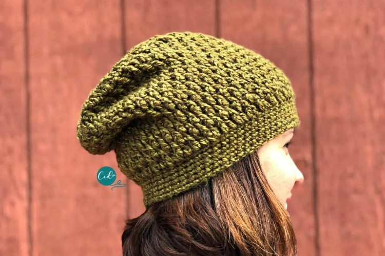 Textured Slouchy Hat Free Crochet Pattern Christacodesign