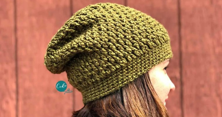 Textured Slouchy Hat Free Crochet Pattern