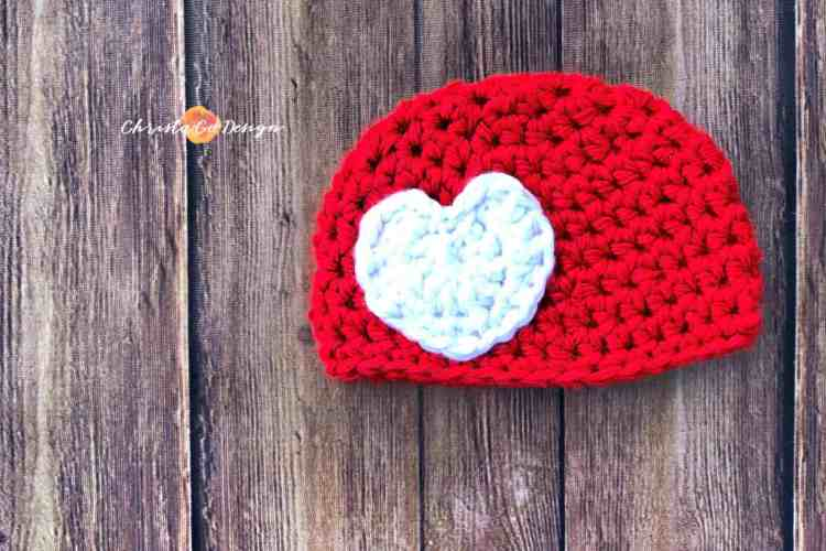 baby hat, sizes newborn to 12 months, red hat, white heart applique