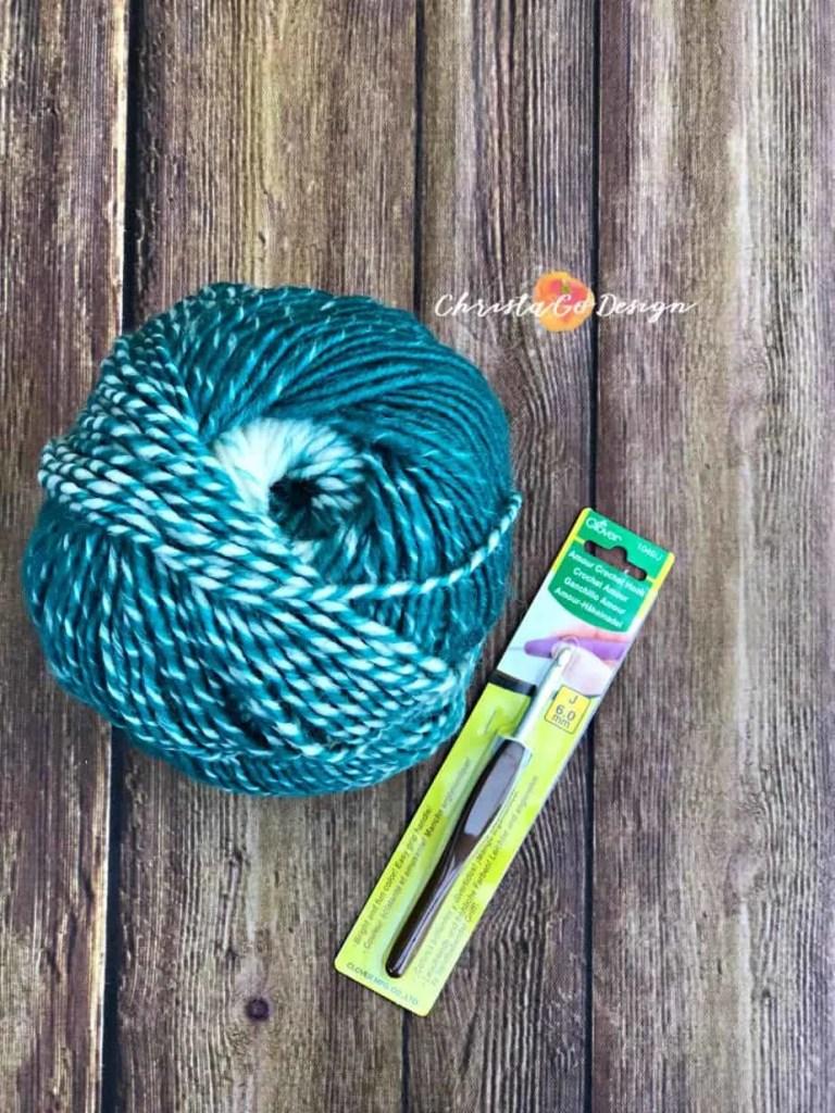 teal cream j hook crochet yarn