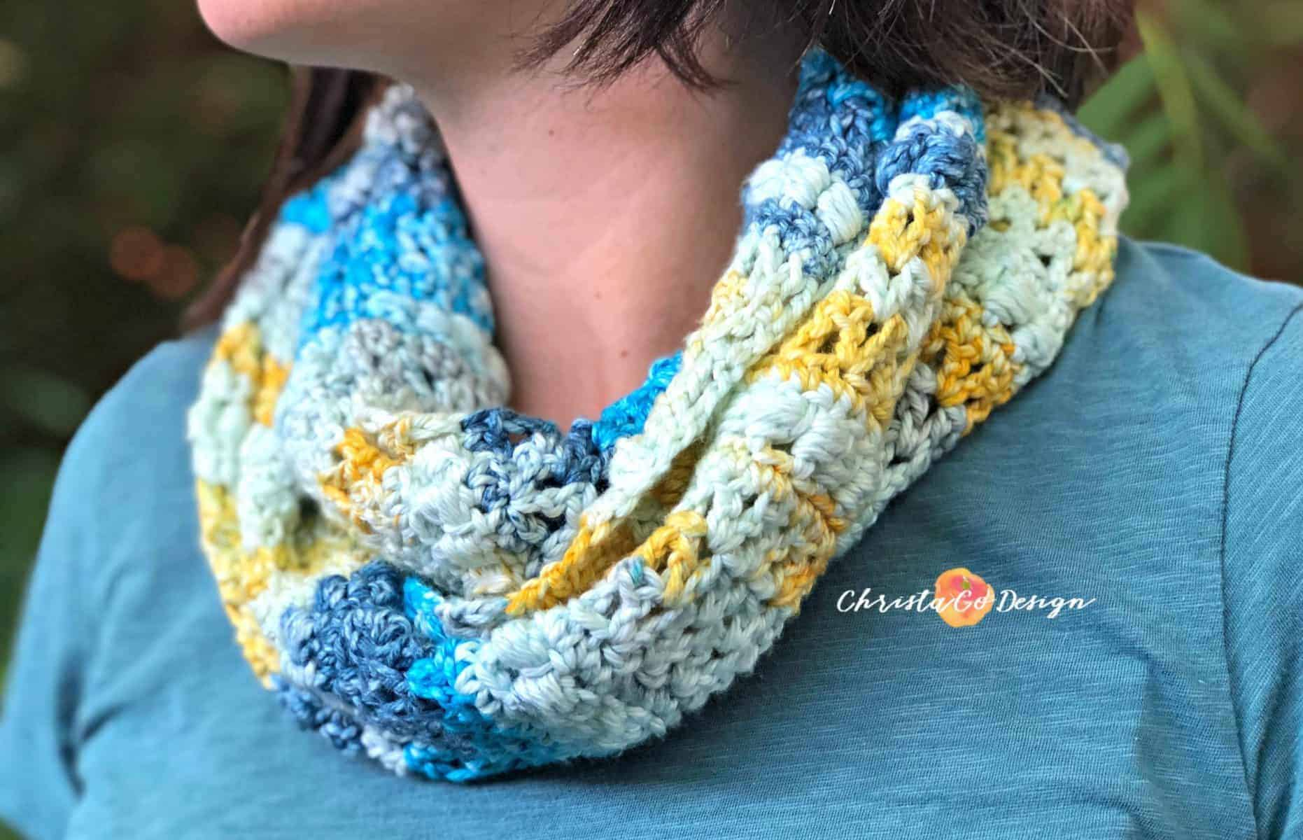 Blueberry Lemonade Cotton Crochet Cowl Pattern