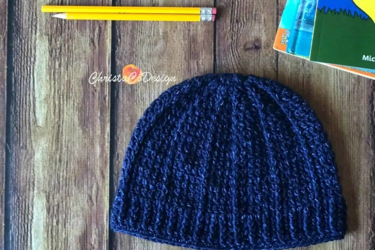 blue crochet hat