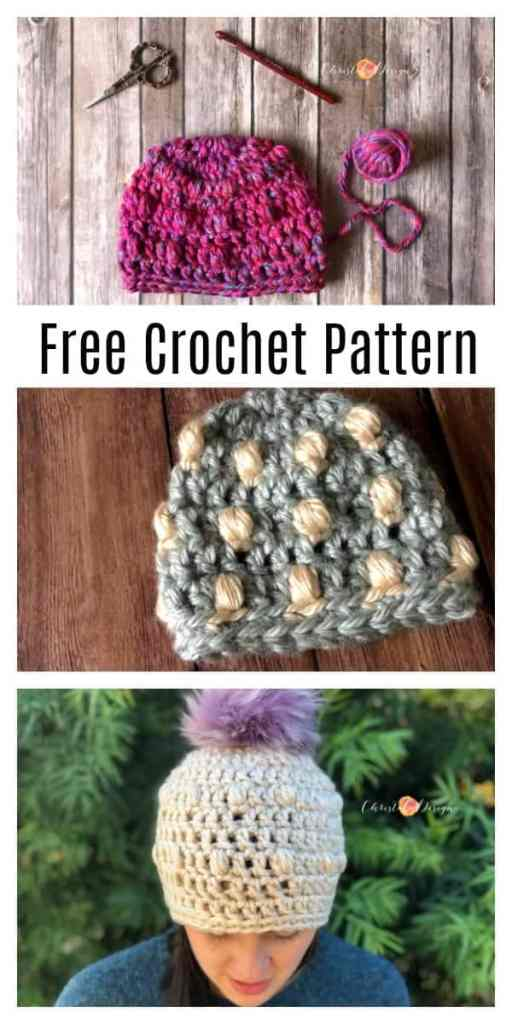 This one ball wonder is a free crochet pattern in all sizes! #crochet #crochetbeanie #freepattern baby beanie, crochet puff stitches, super bulky yarn beanie, free crochet pattern, beanie free crochet pattern, crochet hat free pattern, warm winter wear, pom hat, Pom Pom beanie, teen beanie, fluffy pom beanie