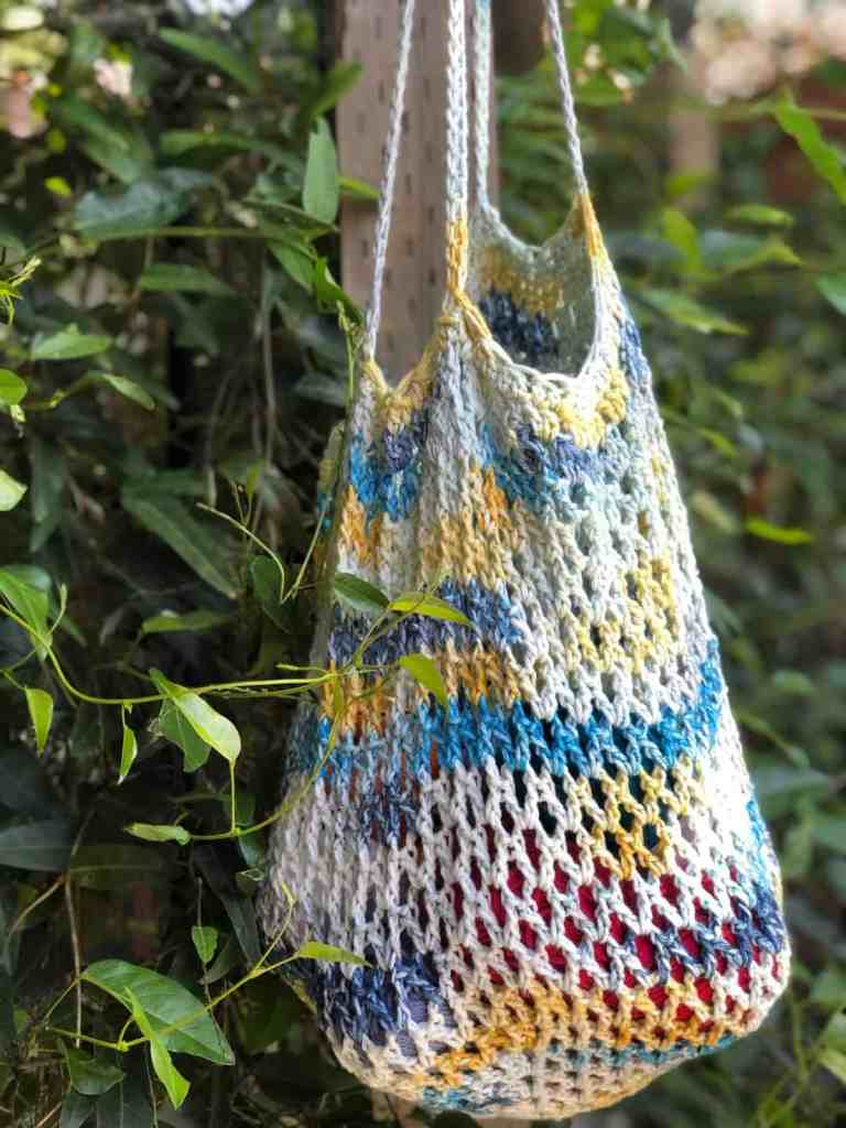 picture of crochet tote hanging