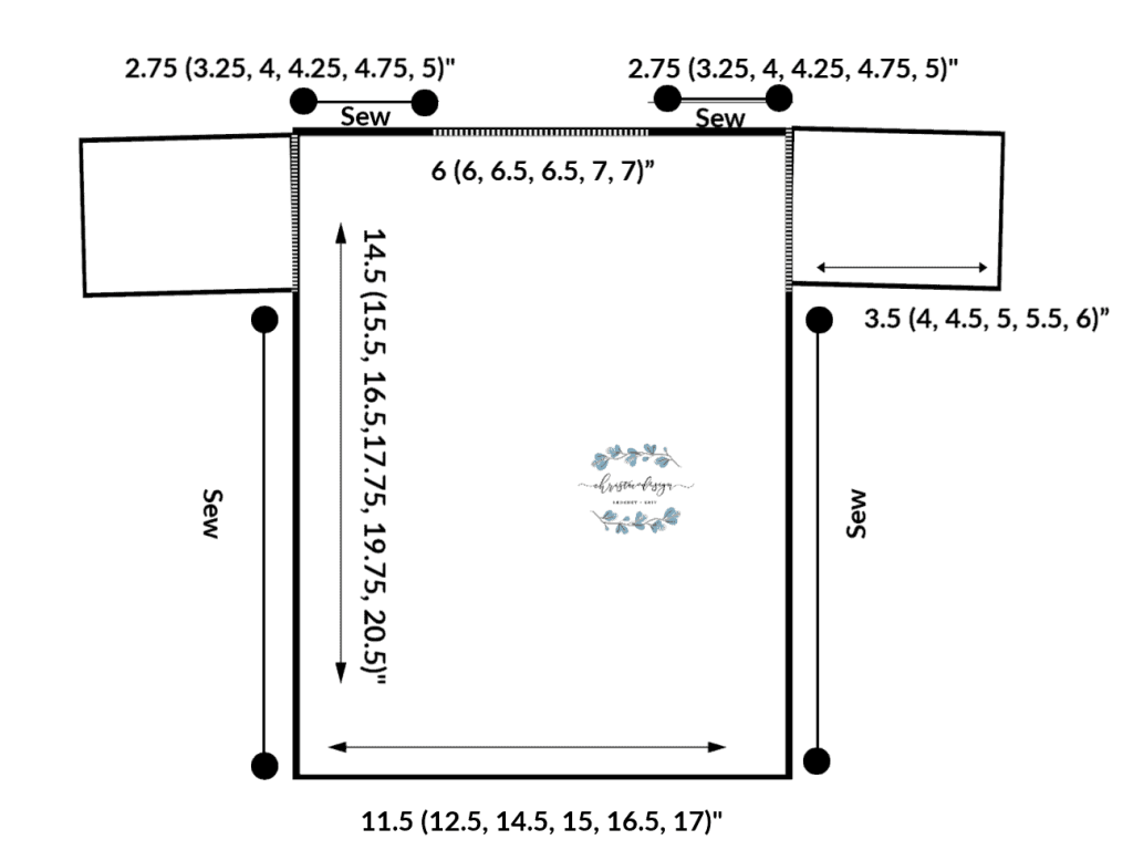 picture of schematic with dimensions for crochet kids tracing t-shirt