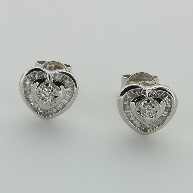 White Gold Diamond Heart Shape Stud Earrings Christal Gold Designs Jewellery