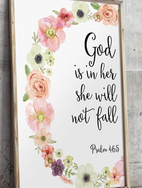 Psalm 46:5 Printable wall decor Bible verses by TwoBrushesDesigns #nurseryprints...