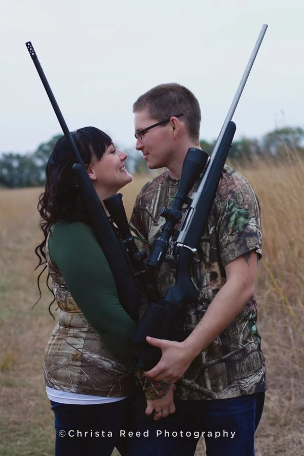 engagement portraits with hunting guns chaska