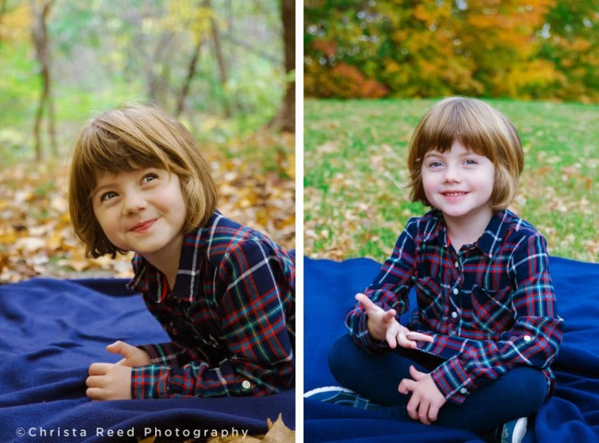 little girl wearing plaid for fall portrait at lake ann
