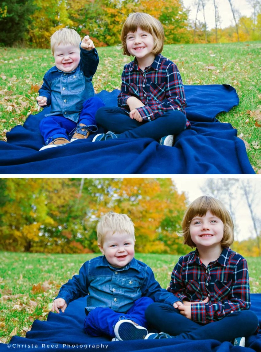 kids in denim on a blue blanket for fall family photos