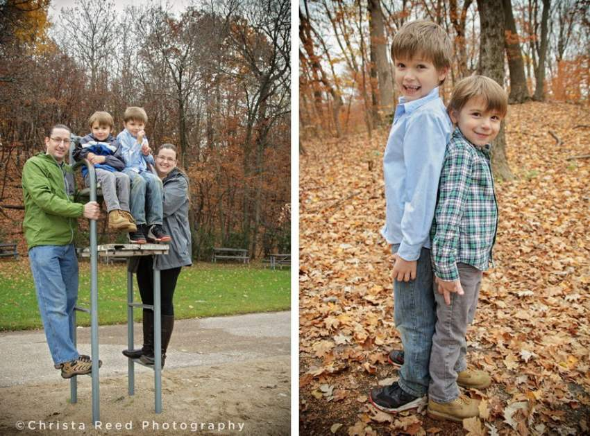 brothers stand back to back for fall portraits in chanhassen