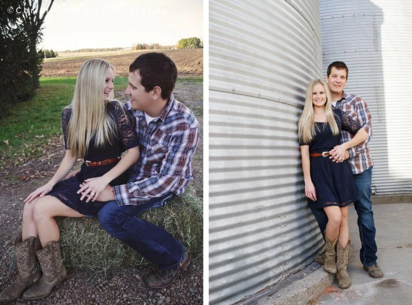 couple sits on hay bale for belle plaine minnesota engagement portraits