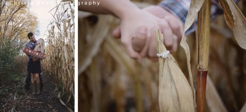 barnwood save the date sign and engagement ring on corn