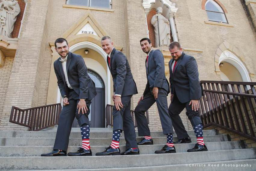 a fourth of july wedding in mankato with american flags socks for the groomsmen