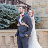 first look in front of church mankato wedding