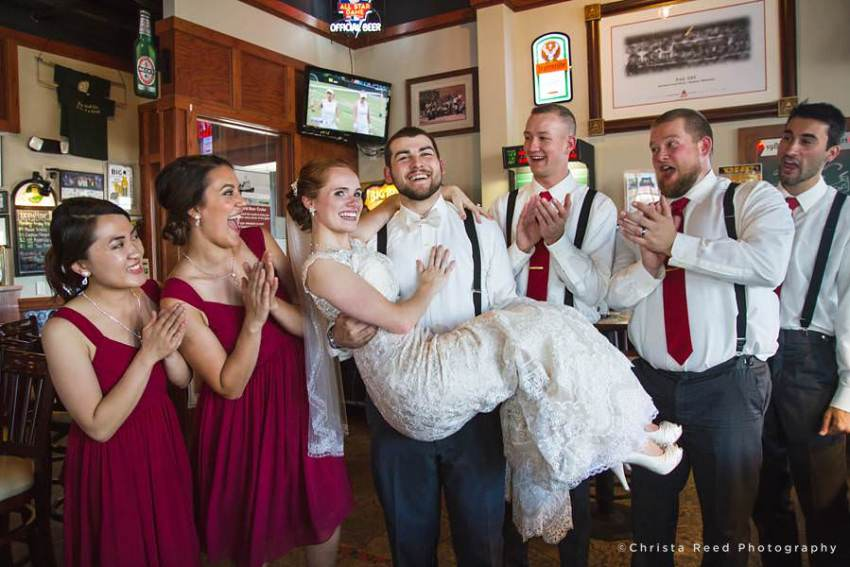 happy wedding party at the 500 pub