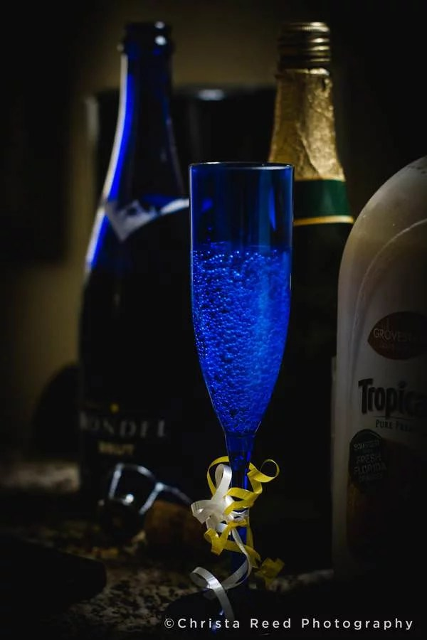 mimosa glass in blue and gold wedding colors