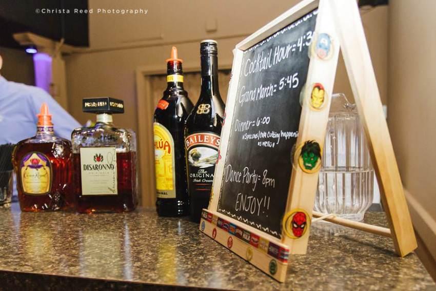 wedding bar menu with super hero decorations