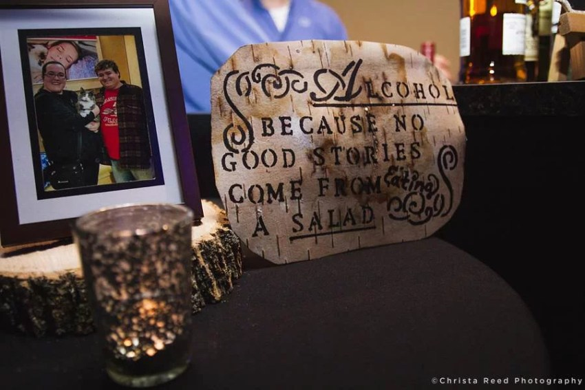 wedding sign at bar says because no good story ever started with salad