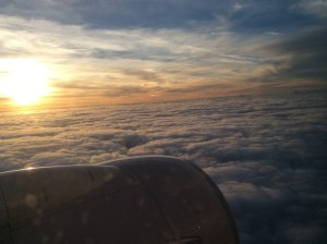 View of sunset from airliner