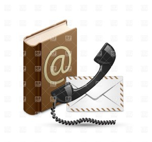 """""""Contact Us"""" vector illustration. Phone receiver, contac book and mail"""