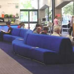 The blue couches in the Central Library - the perfect magazine reading spot!