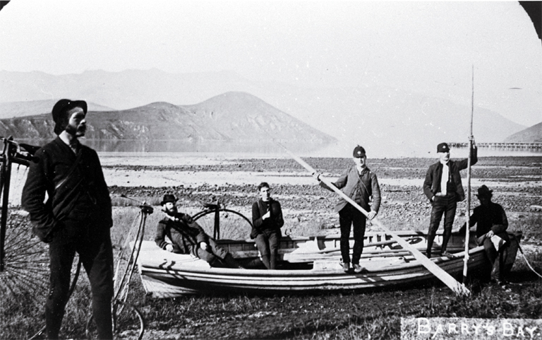 Cyclists on a trip to Akaroa, at Barry's Bay  [1886]