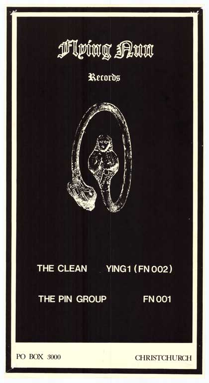 Flying Nun Records: The Clean, Ying1 (FN002), The Pin Group. FN 001CL-Ephemera-Music-Rock-1980s-Poster0017