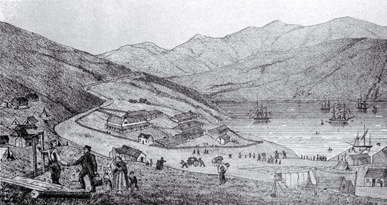 Port Lyttelton, showing the first four ships and emigrants landing from the Cressy, December 28th 1850 [28 Dec. 1850]