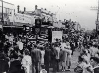 The last tram travels from the New Brighton Post Office to the pier