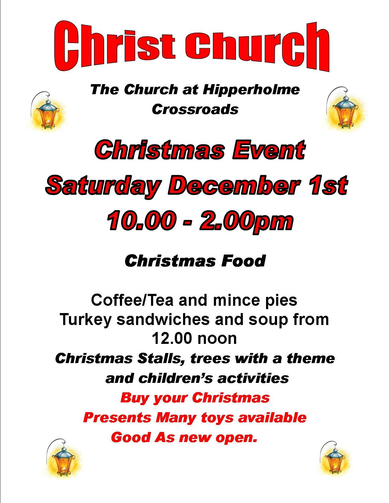 Christmas Event Saturday 1st December 10 00am