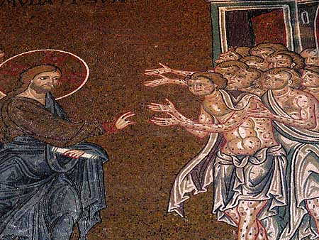 Monreale, Christ heals 10 lepers