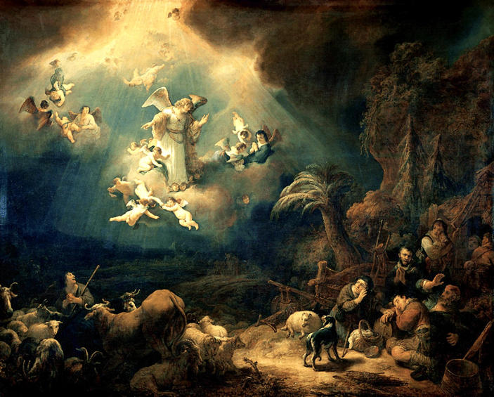 Flinck, Angels Announcing Christ's Birth to the Shepherds