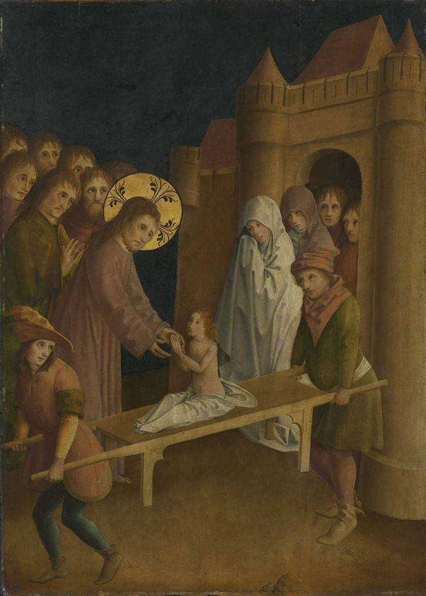 Master of the Darmstadt Passion, Raising of Widow's Son at Nain