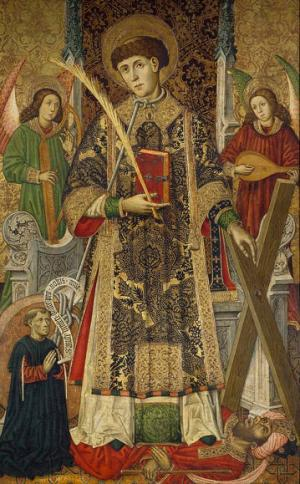 Tomás Giner, Saint Vincent, Deacon and Martyr, with a Donor