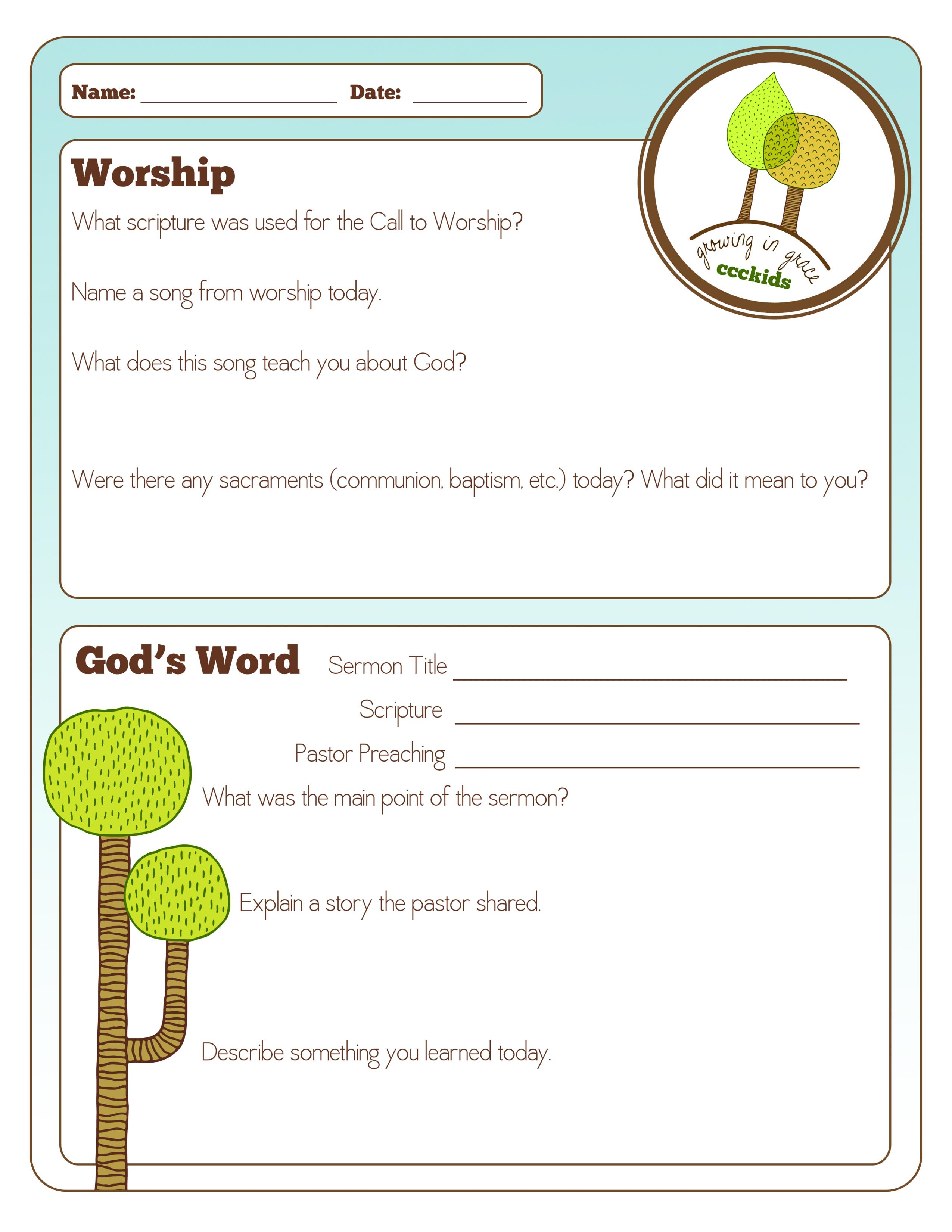 Lutheran Worship Worksheet