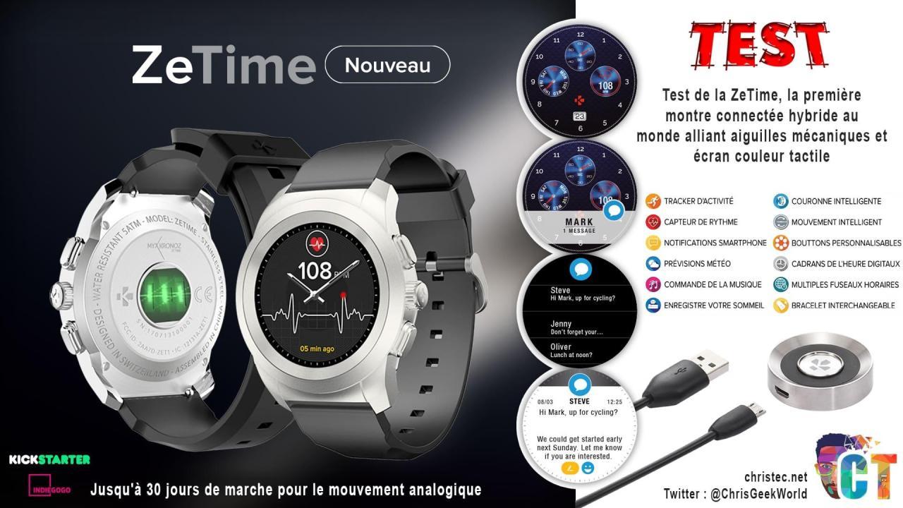 Test de la ZeTime, la première montre connectée hybride au monde alliant aiguilles mécaniques et écran couleur tactile