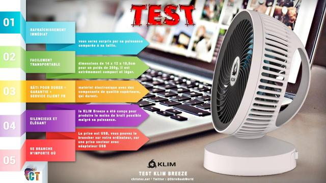Test du ventilateur de bureau USB KLIM Breeze ( silencieux et ajustable )