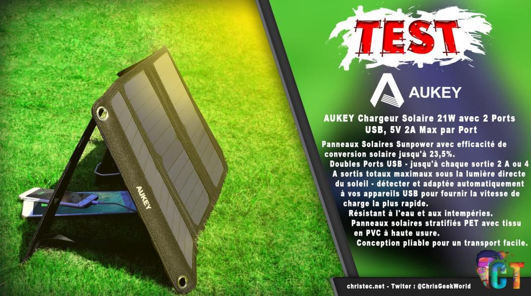 image en-tête test du chargeur solaire de 21 w aukey