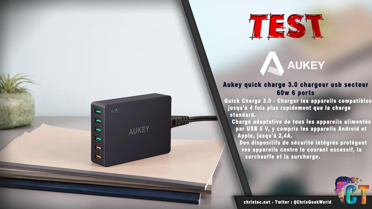 Test du chargeur de voyage Aukey quick charge 6 ports USB3,060W