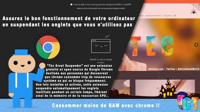 Google Chrome consomme moins de RAM et de ressources CPU avec (The Great Suspender)