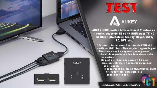 Test du switch HDMI bidirectionnel AUKEY avec support de la 3D et 4K
