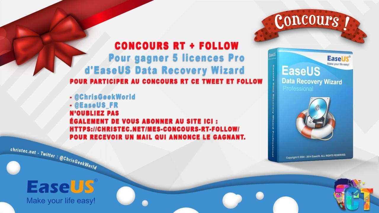 Voici le gagnant du concours twitter (5 licence pro pour EaseUS data recovery wizard)