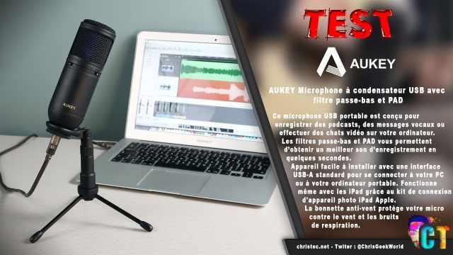 Test du microphone cardioïde USB Aukey à condensateur avec filtre passe-bas et PAD