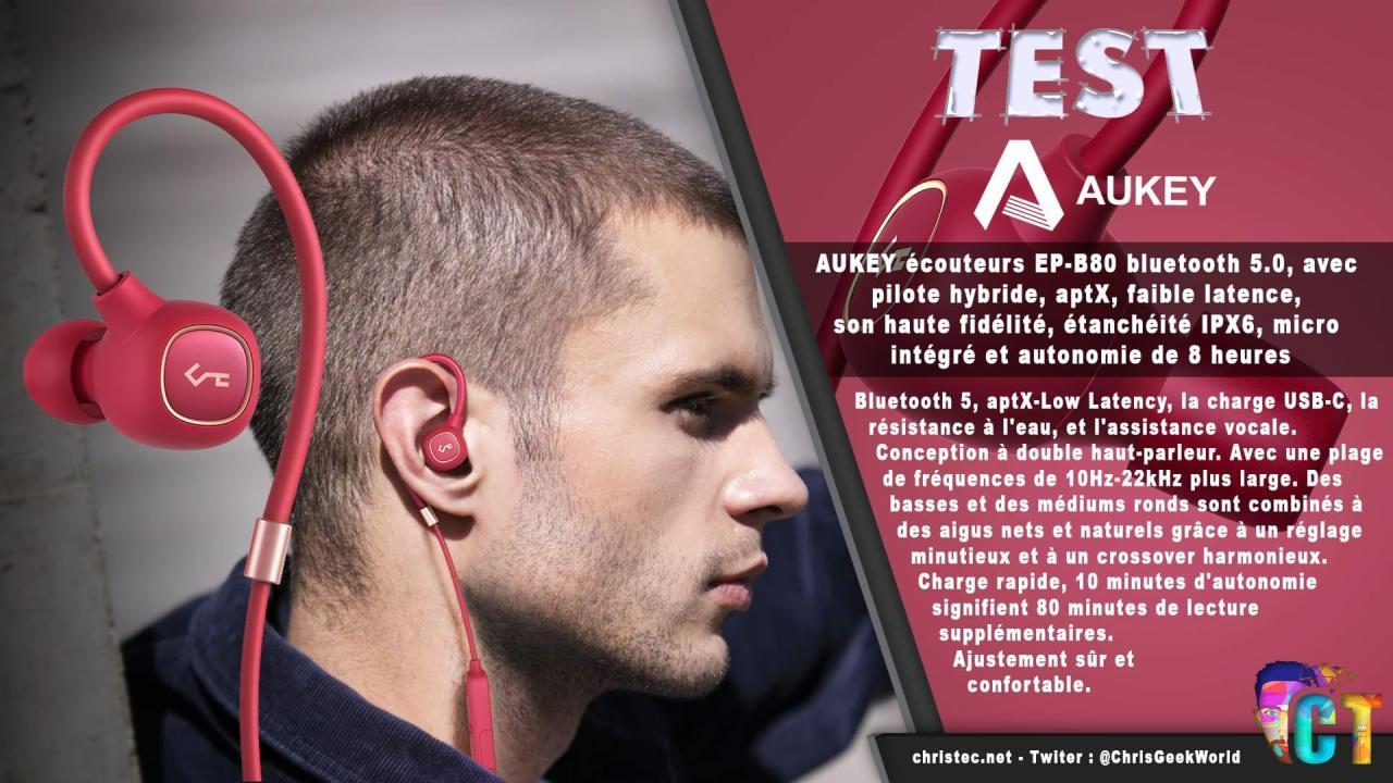 Test des écouteurs bluetooth et hybride Key Series B80 de Aukey