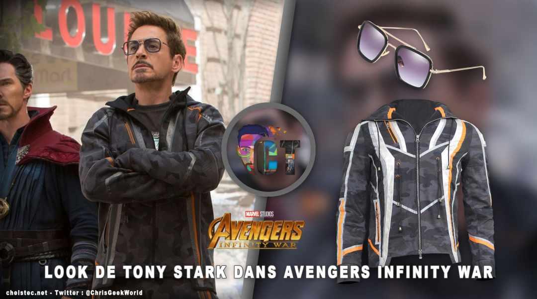 image en-tête Look de Tony Stark dans Avengers Infinity War (Veste et Lunettes)
