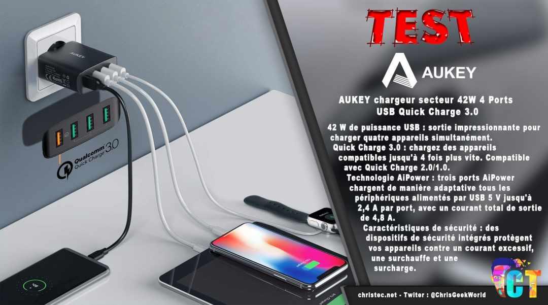 image en-tête Test du chargeur secteur Aukey 42W avec 4 ports USB et Quick Charge 3.0