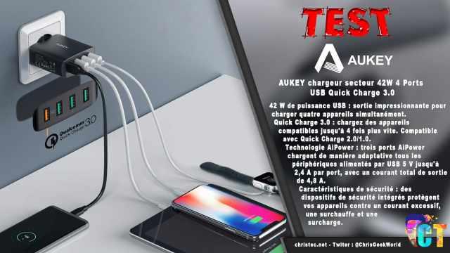 Test du chargeur secteur Aukey 42W avec 4 ports USB et Quick Charge 3.0