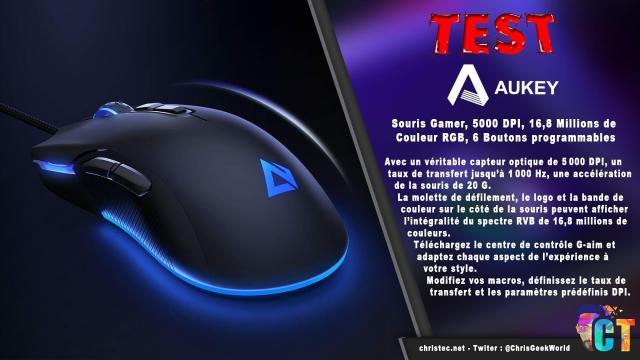 Test de la souris gamer Aukey, 5000 DPI, RGB 16,8 Millions de Couleur, 6 Boutons programmables.