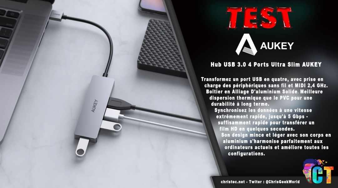 image en-tête Test du hub USB 3.0 4 ports ultra slim de Aukey